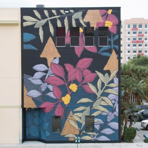 Pastel's mural, The Garden of Heaven illustrates that the flora and fauna of the heavens has come to earth. Pastel was one of 20 artists from all over the world who took part in the CANVAS Outdoor Museum Show West Palm Beach, Nov. 8-22, 2015. Photo credit: Instagrafite