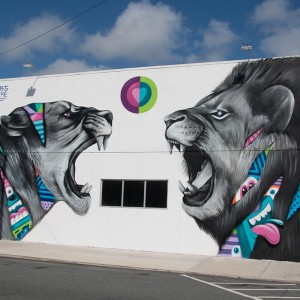 Artist Greg Mike's mural entitled True Love, is a mural focusing on the passion between male and female. Greg Mike, a Florida native, was one of 20 artists from all over the world who took part in the CANVAS Outdoor Museum Show West Palm Beach, Nov. 8-22, 2015. Photo credit: Instagrafite