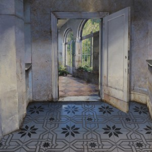 Matteo Massagrande, Cortile, 2014, Mixed Media on Board, 40 x 40 cm (16 x 16 in).