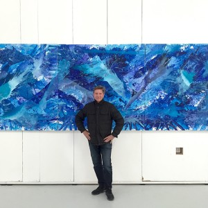 J. Steven Manolis, California Dreaming: The Deep Pacific Blue 2016.01, acrylic on canvas, 60 x 180 in. (3 Enmeshed panels each 60 x 60 in.) Photo courtesy Manolis Projects.