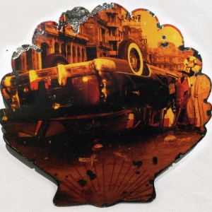 Kadir Lopez Nieves, Shell Malecón, 2008, porcelain, enamel and photograph on metal, 47 ¼ x 47 ¼ in. Photo courtesy of the artist.