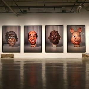 Paul McCarthy, Masks, 1994 Left to right: Monkey, Rocky, Arafat, Monkey Inside Out, Pig, Olive Oyl Collection of Blake Byrne.
