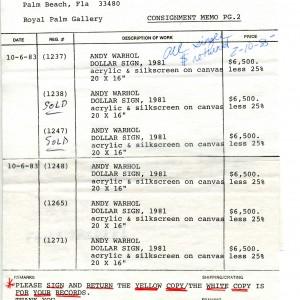 "Leo Castelli, original Consignment Form for Helander Gallery (1983): Andy Warhol ""Dollar Sign"" silkscreens, 1981."