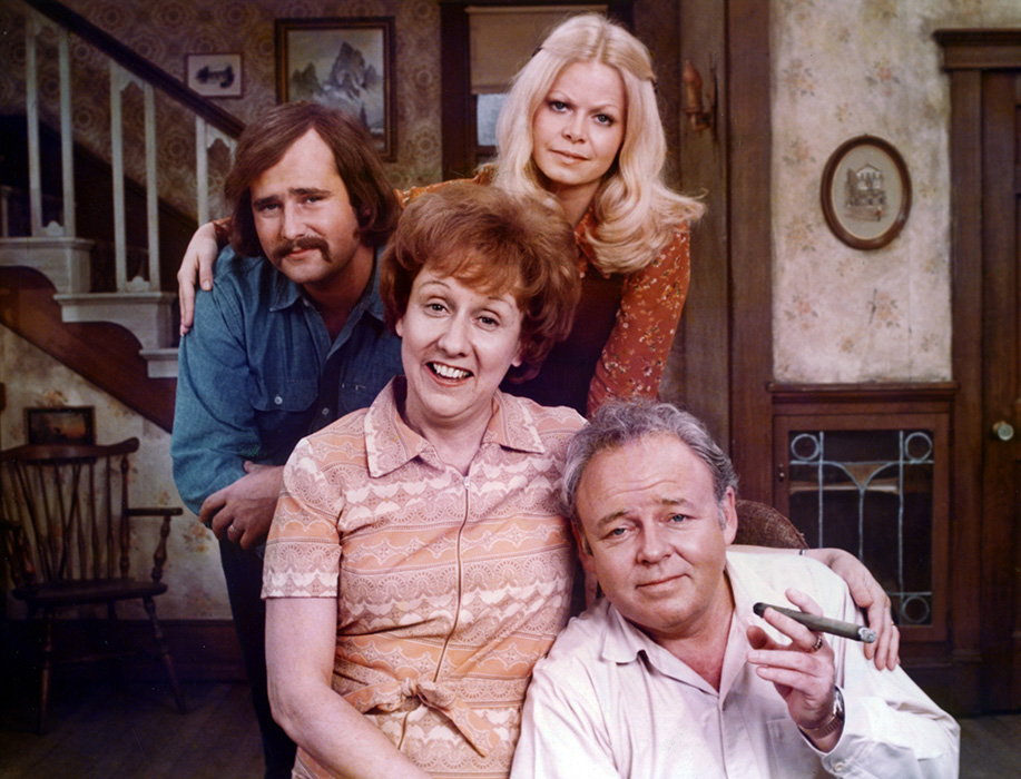 All in the Family (CBS)  TV Series  1971-1979  Shown clockwise, from left: Rob Reiner, Sally Struthers, Carroll O'Connor, Jean Stapleton