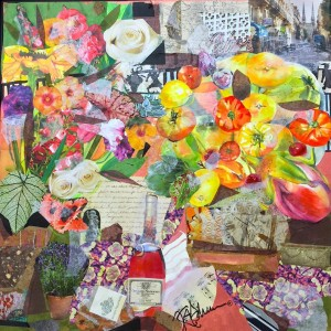 Kathryn Adele Schumacher, Still Life: On the Terrace, Mixed media collage, 25 x 25 in. Courtesy of the artist.
