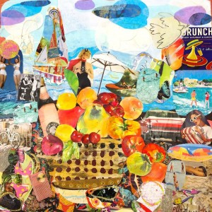 Kathryn Adele Schumacher, Still Life: Picnic at the Beach, Mixed media collage, 25 x 25 in. Courtesy of the artist.