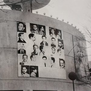Andy Warhol, Thirteen Most Wanted Men, created for 1964 World's Fair (New York State Pavilion); painted over before the start of the fair.