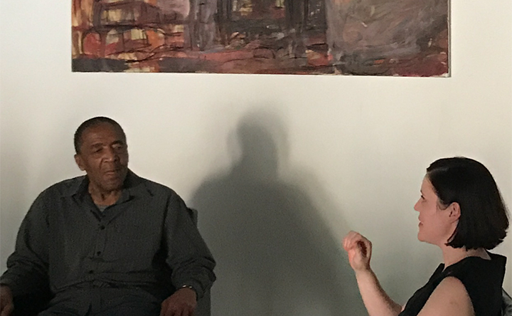 David Koloane, left, discusses his work in an interview conducted at his Bag Factory Studio. Photo by author, Sept. 9, 2017.