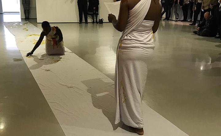 From Crocodile Lover, a lecture and performa nce by Kutala Chopeto featured at the Goodman Gallery Arists' Brunch, Sept. 15, 2017. Photo by author.
