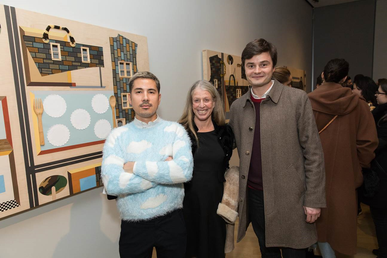 Barbara Hoffman, Performa Board Member and Counsel, with Performa friends Job Piston (left), special projects manager, and Charles Aubin, curator (right) at Derrick Adams' Sanctuary at the Museum of Arts and Design. Photograph by Jenna Bascom, Jan. 24, 2018.