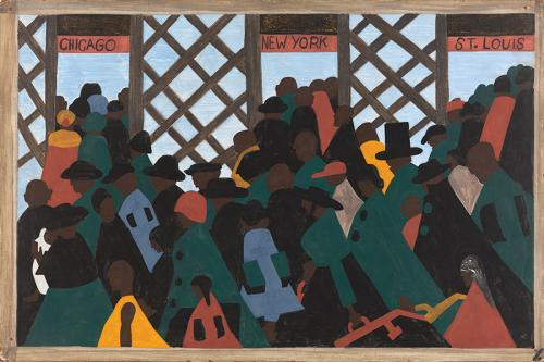Jacob Lawrence Panel 1: During World War I there was a great migration north by southern African Americans (1940–41) Courtesy of The Phillips Collection, Acquired 1942