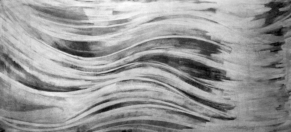 Hubert Phipps, Dreamscape, 2017, Charcoal on paper, 20 x 43 in. (50.8 x 109.22 cm)