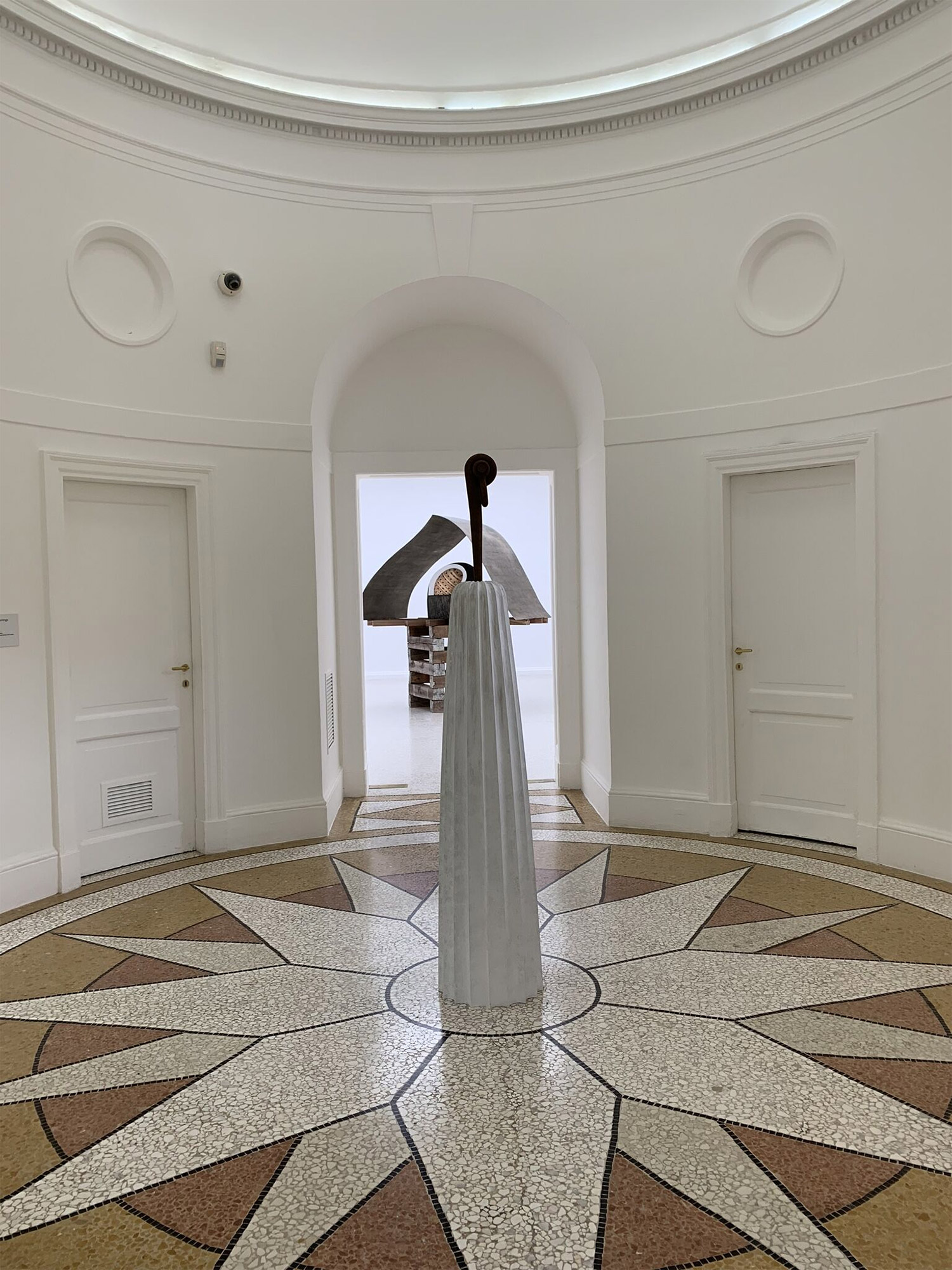 Image of A Column for Sally Hemings, 2019, with The Cloister-Redoubt or Cloistered Doubt? in the background.